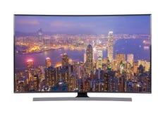 TV menée avec la vue de paysage urbain d'isolement sur le fond blanc Photo stock
