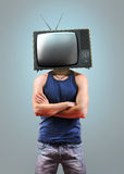 TV men on grey Royalty Free Stock Photo