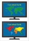 TV met wereldkaart Royalty-vrije Stock Fotografie