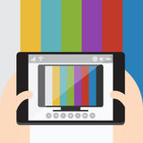 TV on mobile, Internet television. Vector Flat design. TV on mobile, Internet television Stock Photo