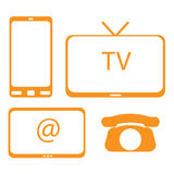 Tv, mobile phone, internet and home phone Royalty Free Stock Image