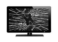 TV moderna con lo schermo rotto isolato su bianco Immagine Stock Libera da Diritti