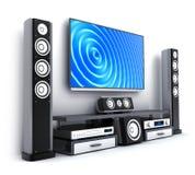 TV moderna y sistema de sonido aislados Imagen de archivo libre de regalías
