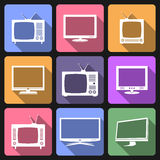 TV and monitor flat icons Royalty Free Stock Photo