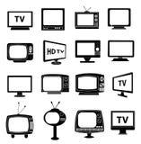 TV monitor icons set Royalty Free Stock Photo