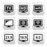 TV monitor, screen buttons set Stock Image