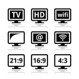 TV monitor, screen icons set Stock Photography