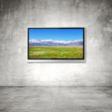 TV with mountain Stock Image