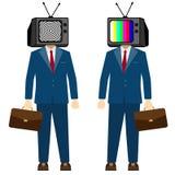 TV na kierowniczym mężczyzna Telewizyjna propaganda, sfałszowana wiadomość Biznesmena charakter, wektor ilustracja wektor
