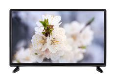 TV nera con l'immagine sul monitor del paesaggio di fioritura Fotografia Stock Libera da Diritti