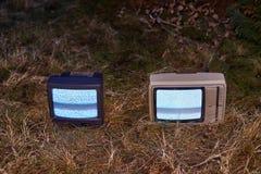 TV nessun segnale in erba Immagini Stock