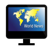 TV news. Illustration of digital multimedia technology - flat LCD television set with world map and World News text. Additional illustration file is supplied for Royalty Free Stock Image