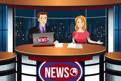 TV News Anchors Illustration Stock Image