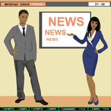 TV news anchors. A vector illustration of TV news anchors Royalty Free Stock Photo