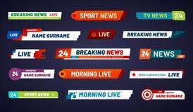 Tv news bar. Television broadcast media title banner isolated ve. Tv news bar. Television broadcast media title banner. Sports tv show news channel media bar stock illustration