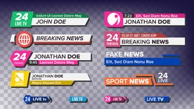 TV News Bars Set Vector. News Banner For TV Streaming. Full Hd, Live Stream. Isolated Illustration. TV News Bars Set Vector. Breaking, Sport News. Media labels Royalty Free Stock Photos