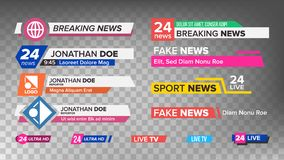 TV News Bars Set Vector. Sign Of Lower Third. Streaming Video News Sign. Isolated Illustration. TV News Bars Set Vector. Sign Of Lower Third. Label Strip, Icon Stock Photo
