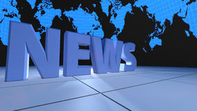 TV News. 3d design. Television news decorated and world map background stock illustration