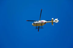 TV news helicopter on a blue sky Royalty Free Stock Photo