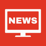 The tv news icon. Television and telly, telecasting, broadcast symbol. Flat Stock Photos