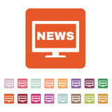The tv news icon. Television and telly, telecasting, broadcast symbol. Flat Royalty Free Stock Image
