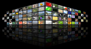 Tv news media background. On black Royalty Free Stock Image