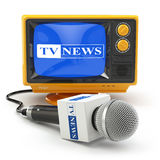 Tv news or report concept. Microphone and television. Stock Photos