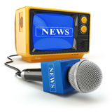 Tv news or report concept. Microphone and television. Stock Photography