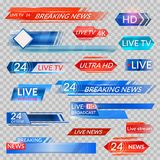 Tv news and streaming video banners. Live, hd, 24 hours online display advertisements, commercials that appear before news or programmers. Vector flat style Stock Photography