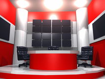 TV news studio. 3D rendering of a television news studio in red, black and white Royalty Free Stock Image