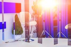 TV NEWS studio with camera and lights Stock Image
