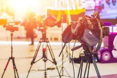 TV NEWS studio with camera and lights Royalty Free Stock Photos
