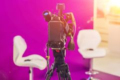 TV NEWS studio with camera and lights Royalty Free Stock Photo