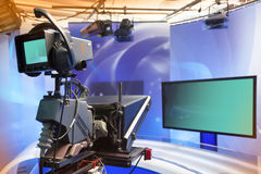 TV NEWS studio with camera and lights stock photos