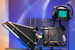 TV NEWS studio with camera and lights Stock Image