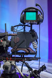 TV NEWS studio with camera Royalty Free Stock Images