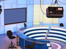 TV NEWS studio with light equipment ready for recording Stock Images