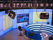 TV NEWS studio with light equipment ready for recording Stock Photography