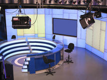 TV NEWS studio with light equipment ready for recording Stock Photos