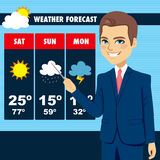 TV News Weather Reporter Man. Attractive young tv news weather reporter man showing weather forecast chart Stock Photo