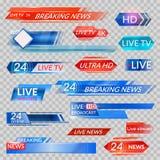 TV-nieuws en stromende videobanners royalty-vrije illustratie