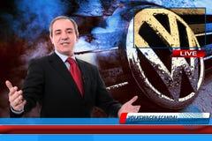 TV-Nieuwsverslaggever bij Volkswagen-het fraudeschandaal Stock Fotografie