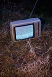 TV no signal in grass. White noise on analogue TV set in outdoor environment stock images