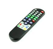 TV noire à télécommande sur le blanc Photographie stock libre de droits