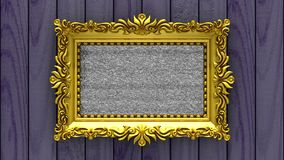 Purple wood on background. Tv noise and green chroma key plays on the screen in ornate gold picture frame. 3D animated. Tv noise on the screen in gold picture stock footage
