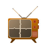 TV old look, with a broken screen on puzzle. Stock Photos