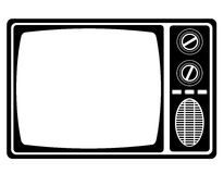 Tv old retro vintage icon stock vector illustration black outlin Stock Image