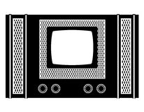 Tv old retro vintage icon stock vector illustration black outlin Stock Photography