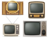 Tv old retro vintage set icons stock vector illustration Stock Photography