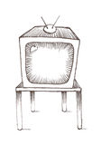 TV Old School Style. Hand-drawn sketch of a television on a table Stock Photos